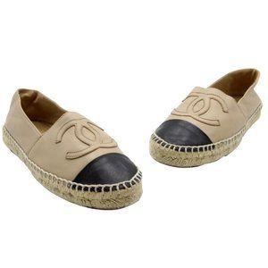 Chanel Beige Leather Cap Toe Cc Espadrilles Flats